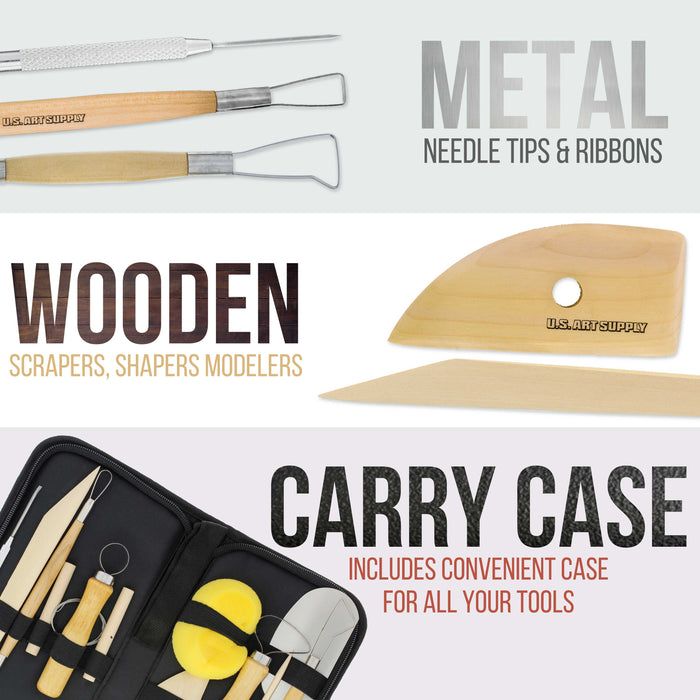 12-Piece Pottery and Clay and Sculpting Tools Set with Canvas Zippered Case