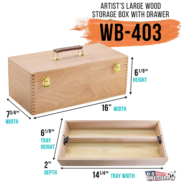 Artist Wood Pastel, Pen, Marker Storage Box with Drawer(s) (Large Tool Box)
