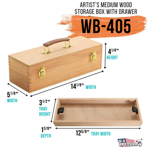 Artist Wood Pastel, Pen, Marker Storage Box with Drawer(s) (Medium Tool Box)