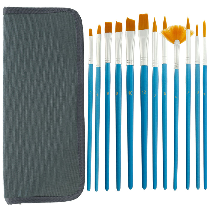12 Piece Nylon Hair Short Blue Handle Oil/Acrylic Brush Set with Black Carrying Case