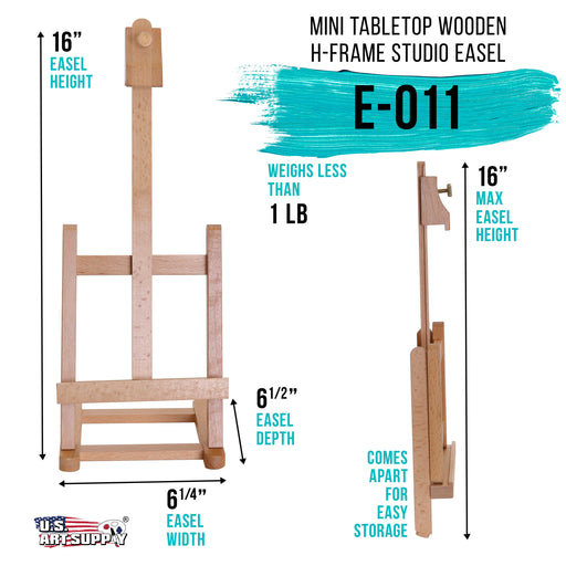 "16"" Mini Tabletop Wooden H-Frame Studio Easel - Artists Adjustable Beechwood Painting and Display Easel, Holds Up To 12"" Canvas - Portable Sturdy Table Desktop Artwork Holder Stand"