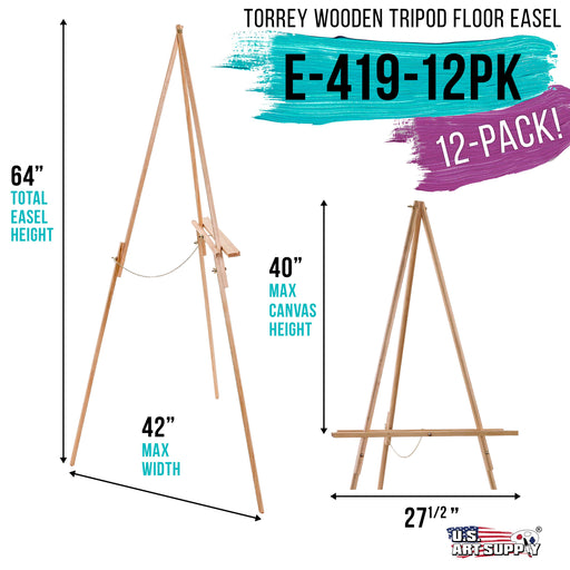 "64"" High Torrey Wooden A-Frame Tripod Studio Artist Floor Easel (Pack of 12) - Adjustable Tray Height, Holds 40"" Canvas, Wood Display Holder Stand for Painting Party Class, Photos Sign"