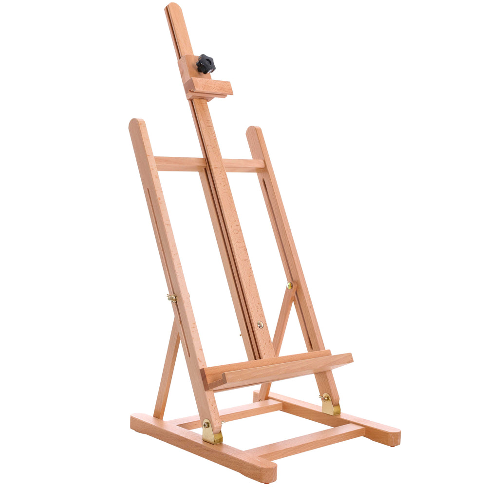 "Medium Tabletop Wooden H-Frame Studio Easel - Artists Adjustable Beechwood Painting and Display Easel, Holds Up To 27"" Canvas, Portable Sturdy Table Desktop Holder Stand - Paint Sketch"