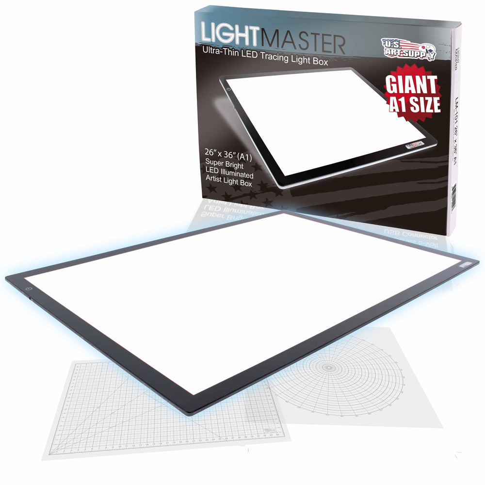 "Lightmaster Giant 45-1/4"" Diagonal (A1) 26 3/4"" x 36 3/4"" LED Lightbox Board- 12-Volt Super-Bright Ultra-Thin 3/8"" Profile Light Box Pad with 110V AC Power Adapter & Dimmable LED Lamps"