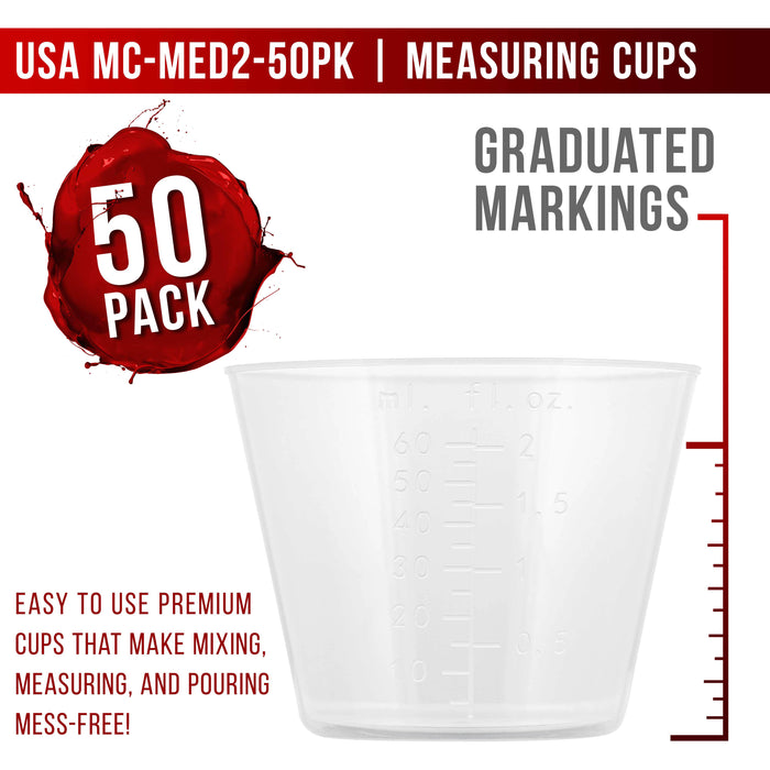 Pouring Masters 2 Ounce (60ml) Graduated Plastic Measuring Cups (50 Clear Cups & 25 Mixing Sticks) - OZ, ML Measurements, Acrylic Paint, Resin, Epoxy