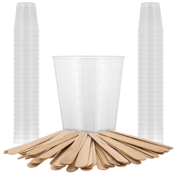 Pouring Masters 5 Ounce (150ml) Graduated Plastic Measuring Cups (50 Clear Cups & 25 Mixing Sticks) - OZ, ML Measurements, Acrylic Paint, Resin, Epoxy