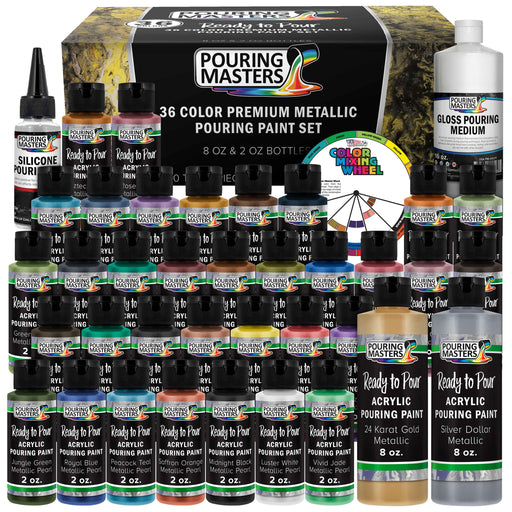 36-Color Metallic Ready to Pour Acrylic Pouring Paint Set with Silicone Oil & Gloss Medium - Premium Pre-Mixed High Flow 2-Ounce & 8-Ounce Bottles