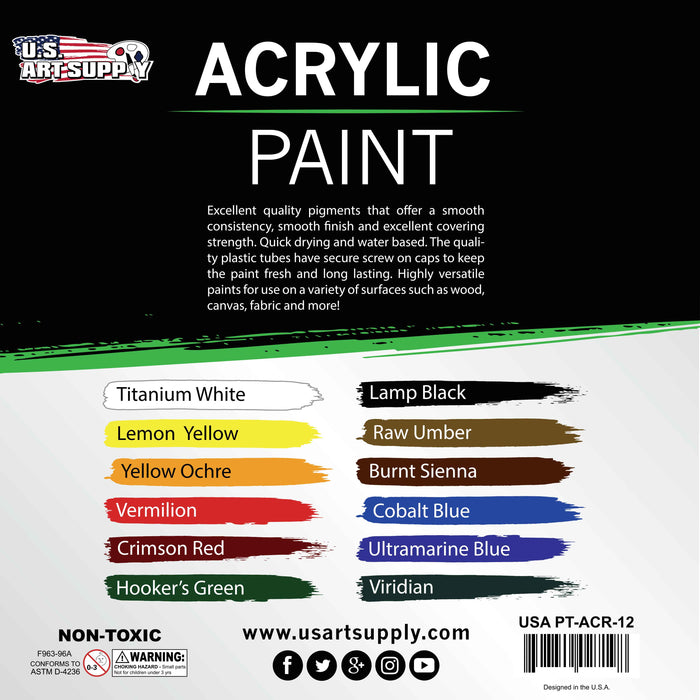 12ml Premium Vivid Acrylic Artist Aluminum Tube Paint Set (12-Colors)