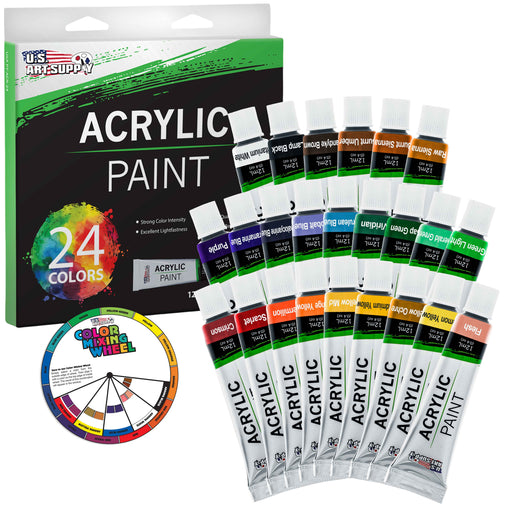 Professional 24 Color Set of Acrylic Paint in 12ml Tubes - Rich Vivid Colors for Artists, Students, Beginners - Canvas Portrait Paintings - Bonus Color Mixing Wheel