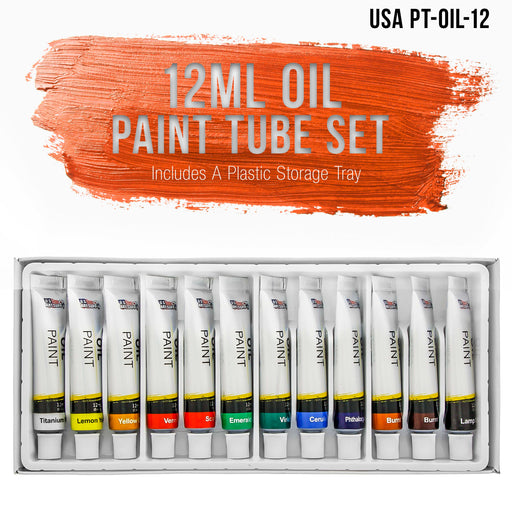 Professional 12 Color Set of Art Oil Paint in 12ml Tubes - Rich Vivid Colors for Artists, Students, Beginners - Canvas Portrait Paintings
