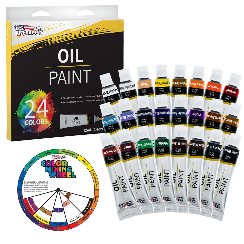 Professional 24 Color Set of Art Oil Paint in 12ml Tubes - Rich Vivid Colors for Artists, Students, Beginners - Canvas Portrait Paintings