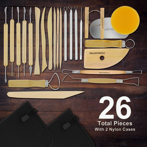 26-Piece Pottery & Clay Sculpting Tool Sets with Canvas Cases