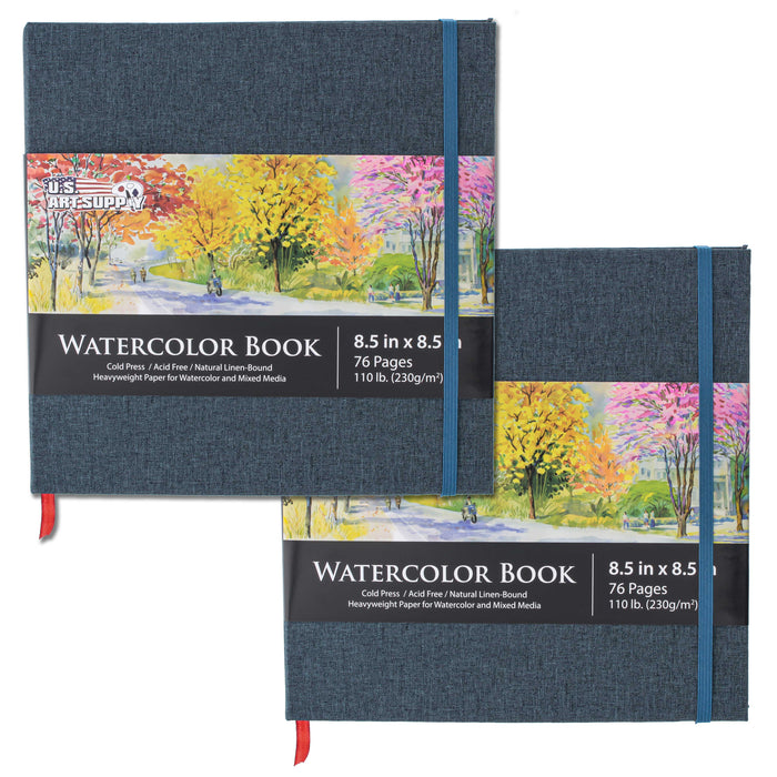 "8.5"" X 8.5"" Watercolor Sketchbook (110lb/230gsm) Linen Bound 75 Pages (Pack of 2)"