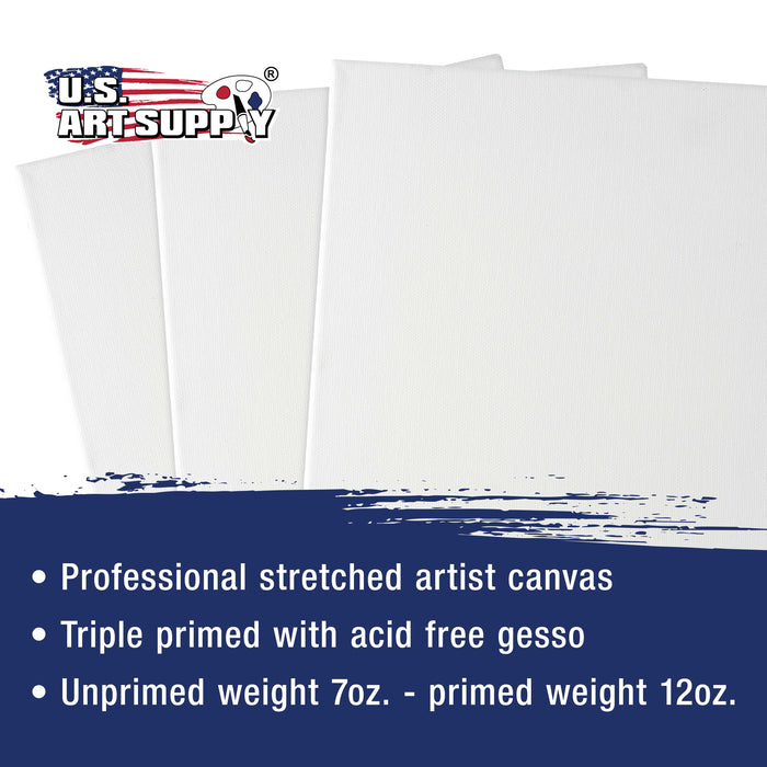 "24 x 24 inch Stretched Canvas 12-Ounce Primed 3-Pack - Professional White Blank 3/4"" Profile Heavy-Weight Gesso Acid Free Bulk Pack - Painting, Acrylic Pouring, Oil Paint"