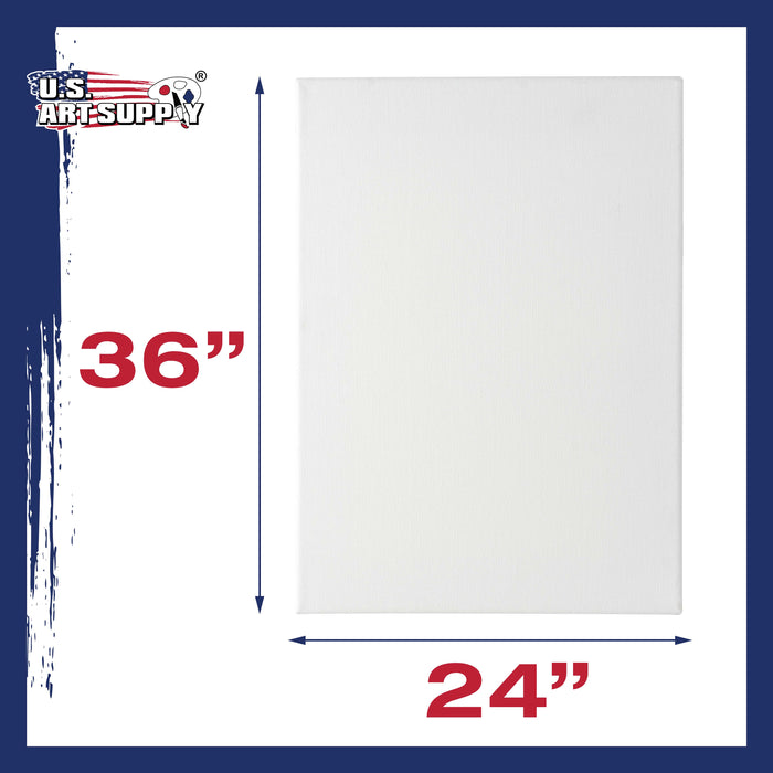 "24 x 36 inch Stretched Canvas 12-Ounce Primed 3-Pack - Professional White Blank 3/4"" Profile Heavy-Weight Gesso Acid Free Bulk Pack - Painting, Acrylic Pouring, Oil Paint"