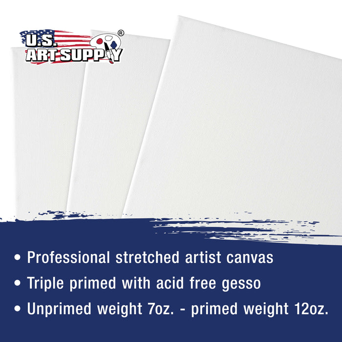 "24 x 48 inch Stretched Canvas 12-Ounce Primed 3-Pack - Professional White Blank 3/4"" Profile Heavy-Weight Gesso Acid Free Bulk Pack - Painting, Acrylic Pouring, Oil Paint"