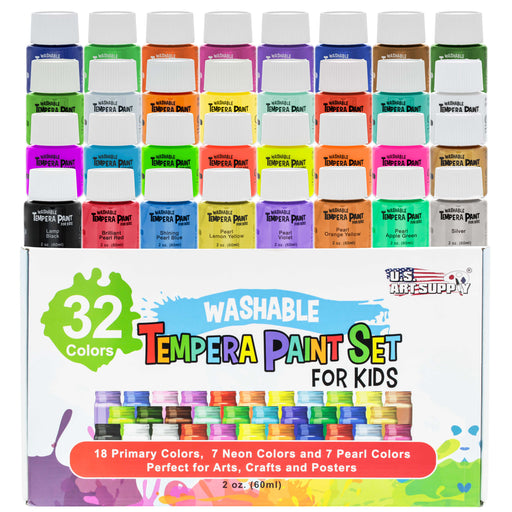 32 Color Children's Washable Tempera Paint Set - 2 Ounce Wide Mouth Bottles for Arts, Crafts and Posters