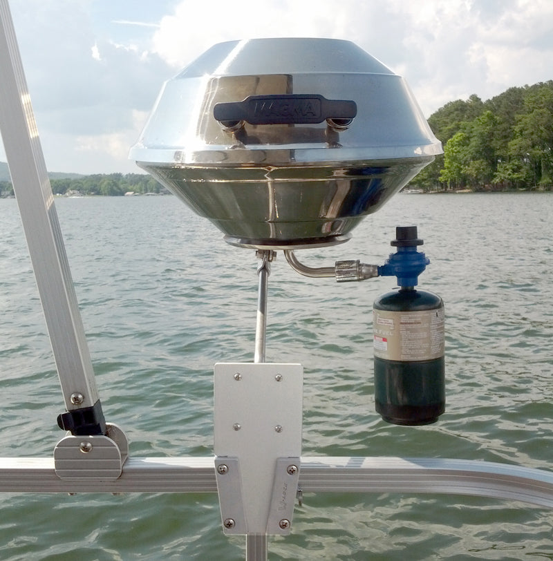 Gas Grill on a Pontoon Boat using the V-Lock Square Rail Kit