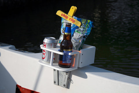 Snack and beverage holder attached to a V-Lock base