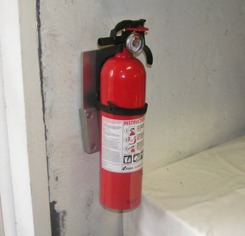 Fire extinguisher using a V-Lock quick release