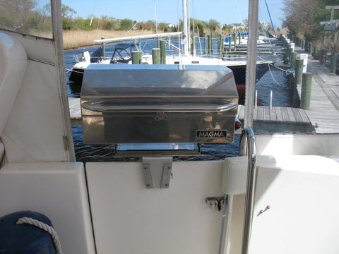 Secure grill on boat using V-Lock
