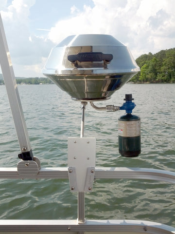 Gas Grill On A Pontoon Boat Using The V Lock Square Rail Kit
