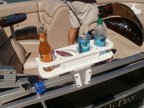 Here is a cup holder on a square railing of a pontoon boat