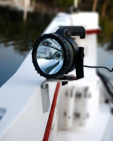 Spotlight mounted on boat with V-Lock