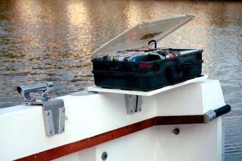 Tackle box installed to boat