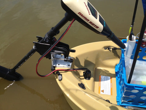 Secure trolling motor attached to kayak