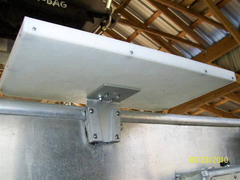 bait table mounted to a metal boat