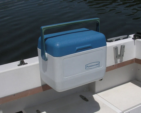 V-Lock securing a cooler for the boat