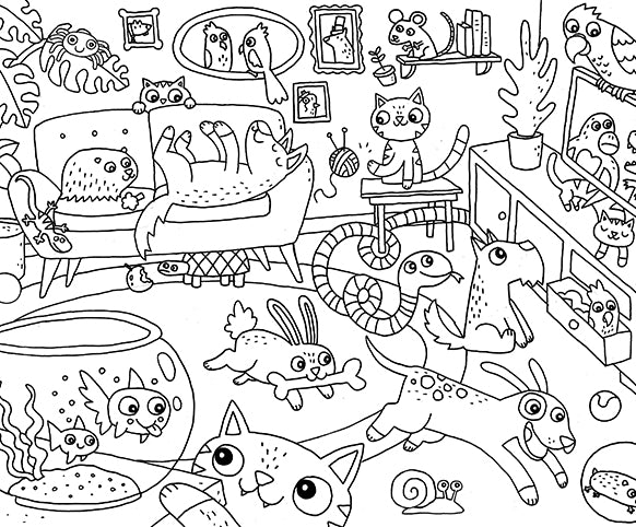 #StayAtHome - Animal Party Colouring Page