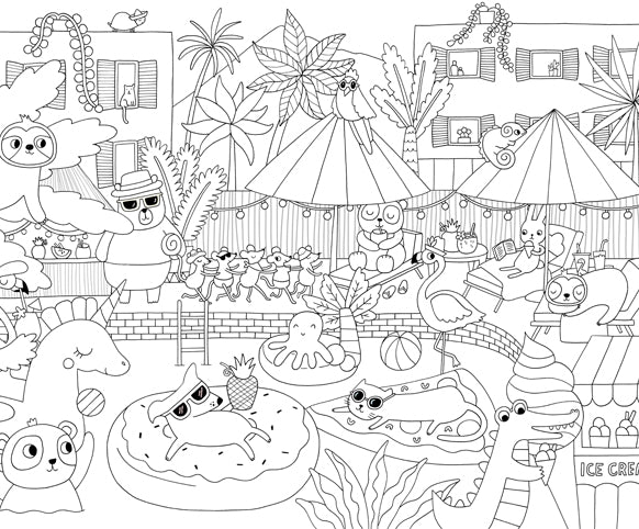 #StayAtHome - Pool Party Colouring Page