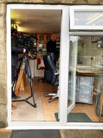 Photo taken from outside Trevor's studio, the day ITV came to film Made In Britain. Inside the door you can see a camera and to its left is Trevor looking at the cameraman.