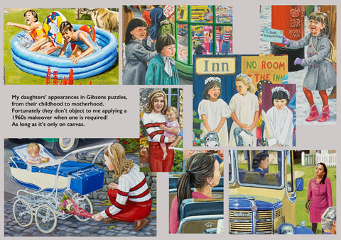 A montage of images taken from Trevor's paintings that feature his daughters, from childhood to motherhood.