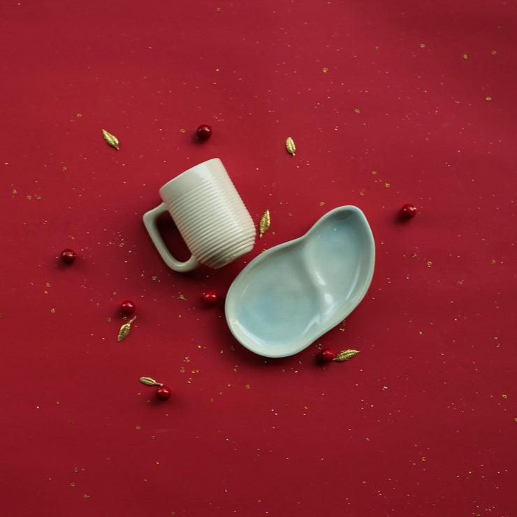 Ware Innovations Mumbai Nude-Aqua Ripple Cup and a Leaf Plate (Nude-Aqua)
