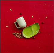 Ware Innovations Mumbai Nude-Green Ripple Cup and a Leaf Plate (Nude-Aqua)