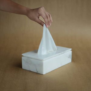 Ware Innovations Mumbai Table Charmers White Marble Tissue Box