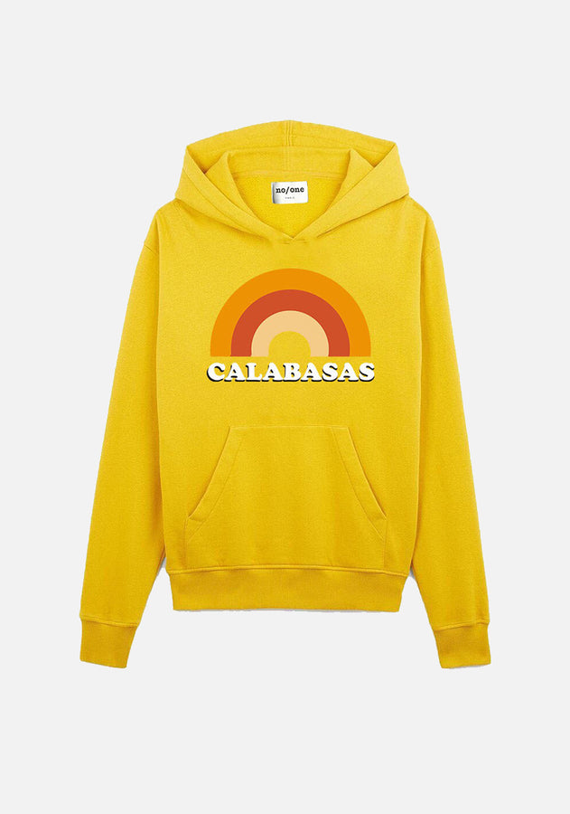 "sweat à capuche jaune ""CALABASAS"" - NO/ONE Paris"