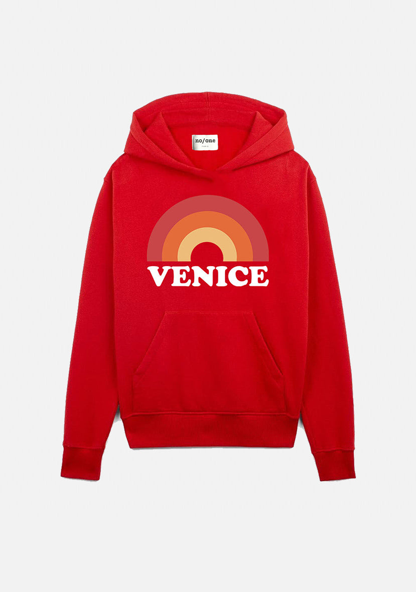 "sweat à capuche rouge ""VENICE"""