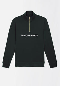 "SWEAT-SHIRT COL ZIPPÉ ""THE CAPITAL"" NOIR - NO/ONE Paris"