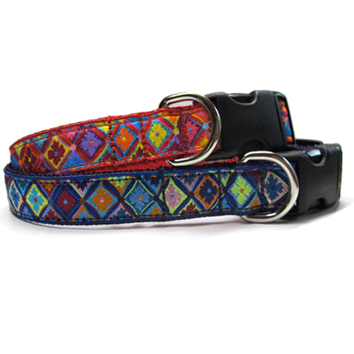 Antwerp Flower Hypoallergenic Dog Collar in Blue and Red