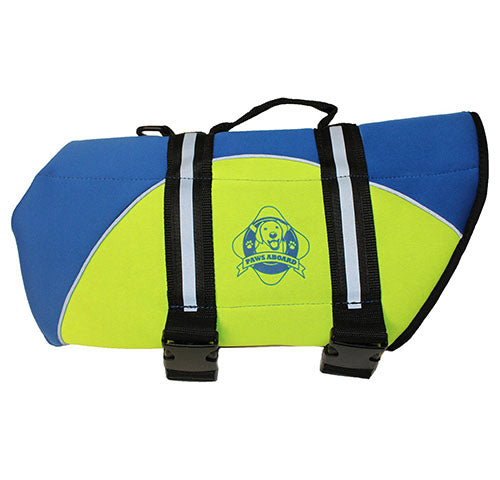 Paws Aboard Designer Dog Life Jacket in Blue/Yellow Neoprene
