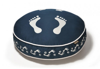 Footprints Round Dog Bed - Steel Blue/Pearl