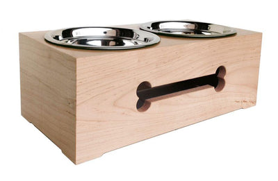 Wooden Bone Cut Raised Double Dog Diner by Pets Stop