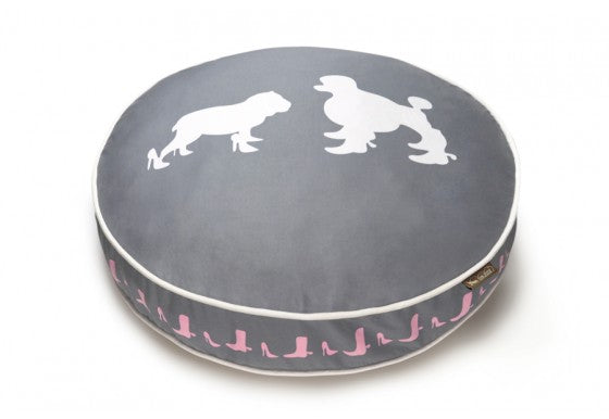 Steel Gray/White Heels and Boots Round Dog Bed