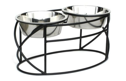 Oval Cross Raised Double Dog Diner by Pets Stop