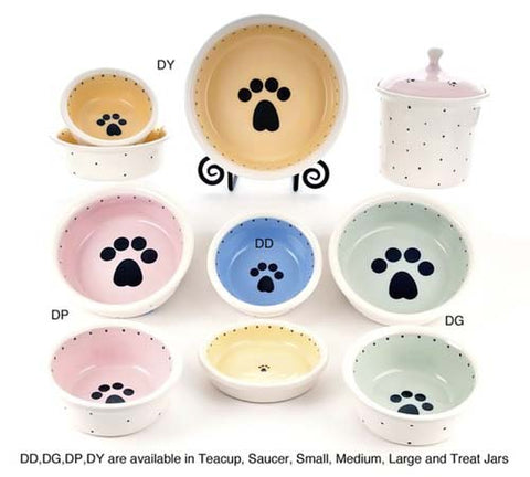 Paw Print Ceramic Dog Bowl Collection by Petware Pottery