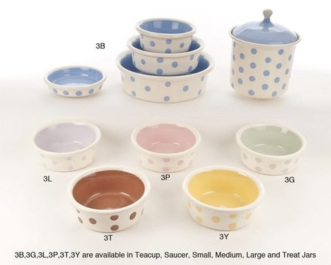 Dots & Matching Solids Ceramic Dog Bowl Collection by Petware Pottery